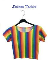 LATEST WOMEN RAINBOW STRIPE SHORT SLEEVE CROP TOP GAY PRIDE LADIES FANCY SHIRT