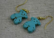 Bear earrings, gold color ear wire, blue stone