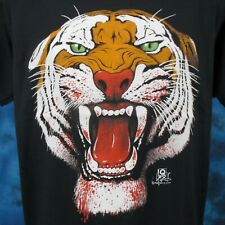 Nos vintage 80s Tiger Face Paper Thin T-Shirt Large nature cat wild animal blood