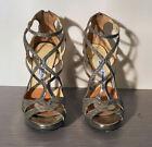 Jimmy Choo Vermeil Glitter and Bronze Strappy Sandal Size 6.5 (36.5 EU)