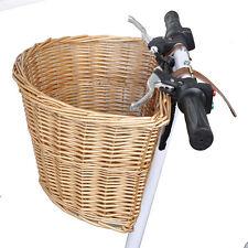 VINTAGE IN VIMINI CESTINO BICICLETTA con cinturini in pelle BICI / CICLO SHOPPING TROLLEY