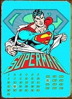 Superman Rasgado Camisa Eterno Metal Calendario 400mm x 310mm (Fd) Reducido