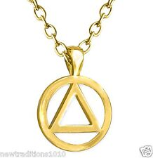 AA Circle Triangle Shiny Gold Finish Necklace/Pendant