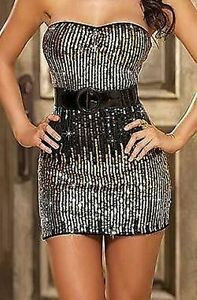 NEW GORGEOUS LADIES MINI DRESS TOP WITH SEXY SEQUINS