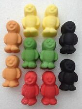 Edible large fondant icing jelly babies -cake topper x 10 assorted colours
