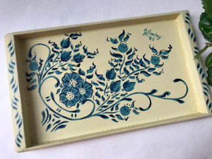 VTG Delft Blue Wooden Tray Signed Small Hand Painted Snack Cheese Decor Serving