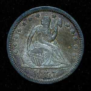 1857-P SEATED LIBERTY QUARTER ✪ XF EXTRA FINE DETAILS ✪ 25C SILVER X84 ◢TRUSTED◣