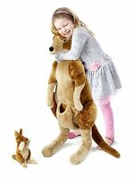 NEW Melissa & Doug LARGE 3 FT KANGAROO & BABY JOEY ROO Plush Stuffed Animal NWT!