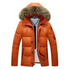 Men's Orange Fur Collar Hooded Parka Winter Down Jacket Coat Fashion Outwear