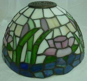 Water Lily Stained Glass Lamp Shade Blue Pinks Green 20I004