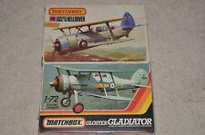 1/72 MATCHBOX VINTAGE GLOSTER GLADIATOR & SBC-4 HELLDIVER  Kits # PK-8 & PK-35