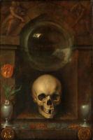 Oil painting pieter claesz 虚空派静物油画 vanitas still life skull flowers hand painted