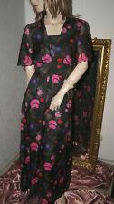 Langes seidiges Vintage Kleid * Abendkleid schwarz rosa lila pink 36/38
