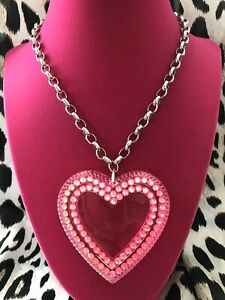 "Luly Lu ""Kitten"" Vintage HUGE Hot Pink Lucite Heart Neon Opal Swarovski Necklace"