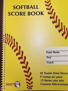 NEW Softball Scorebook, Portrait, 45 games, 13 players