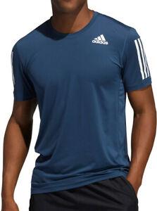 adidas Tech Fit 3 Stripes Fitted Short Sleeve Mens Training Top - Navy