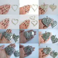 2/5 x Large Tibetan Silver Love Heart Charms Pendants Jewellery Findings