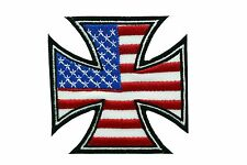 USA FLAG MOTORCYCLE CHOPPERS IRON CROSS MC EMBROIDERED PATCH