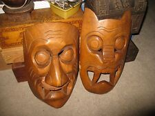 Pair of Carved Wood Dance Masks Cat and Owner Will Also Hang on Wall