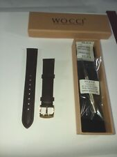 18 mm WOCCI Leather Watch Band,Brown Vintage Strap with Gold Stainless clasp
