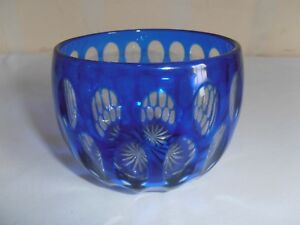STUNNING COBALT BLUE GLASS RINSER/FINGER BOWL. BEAUTIFULLY OVERLAID & CUT GLASS.