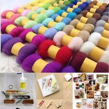 50 DIFFERENT COLOR Wool Fibre Needle Felting (250g)+ Felting Needles Starter Kit