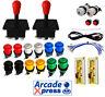Kit Joysticks Arcade Americano Rojos 12 botones Usb 2 players Encoder Bartop