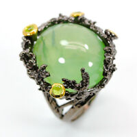 Natural Prehnite 925 Sterling Silver Ring Size 7.5/RS18-0072