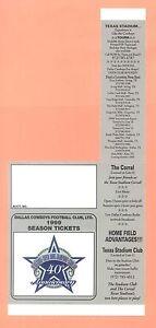 Dallas Cowboys 1999 Season Ticket Holder NFL Schedule GEM condition Emmitt Smith