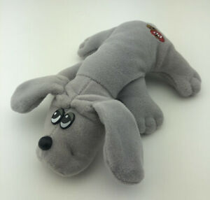"Tonka Pound Puppies 8"" Long Plush Gray Dog Stuffed Animal Vintage Puppy 1985"