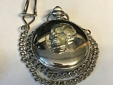 Skull TG117 Pewter on a Silver Pocket Watch Quartz fob