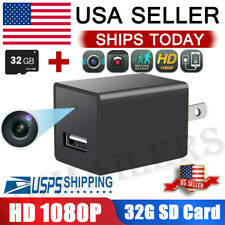 Mini Charger Spy Camera 1080P Full HD Camcorder Hidden DVR Loop Record 32GB Card
