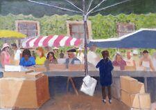 Original Oil Painting on Board. Dennis Cox. French Market, Dordogne. British Art