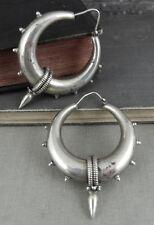 Gothic Punk Spiked Hoop Earrings in 925 Sterling Silver