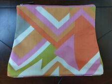 Clinique Makeup Bag Travel Cosmetic Pouch Pink Orange Green Gray Zipper Zip Top