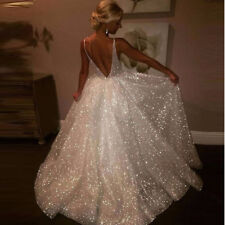 Long V-neck wedding dresses white Sequins Dresses backless size S M L XL