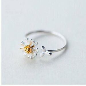 Charm Silver Daisies Leaf Ring Opening Finger Adjustable Bridal Women Jewelry