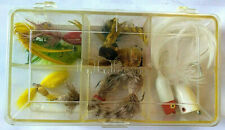 Vintage Box Of L.L.Bean Bass Bug Assortment Six Wood Poppers And Six Hair Flys