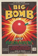 Vintage Big Bomb Firecracker Pack Label