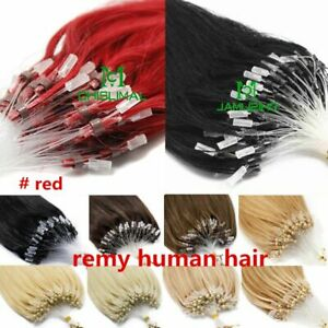 Micro Loop Ring Silicone Beads Remy Human Hair Extensions 16-26inch 100S