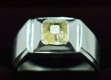 Yellow Sapphire Pukhraj Ring Sterling Silver Ceylon Sapphire Mens Jewelry Rings
