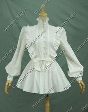 Ladies Victorian Gothic Romantic White Blouse Shirt Steampunk Clothing N B005 XL
