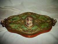 ANTIQUE BRONZE ORMOLU HP MINIATURE LADY PORTRAIT CELLULOID VANITY BOX FRENCH