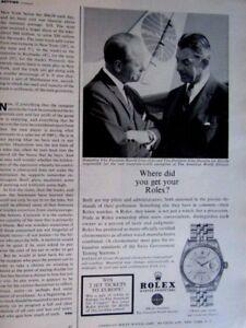 Harold Gray & John Shannon 1963 Rolex Original Print Ad 9 x 11 Inch