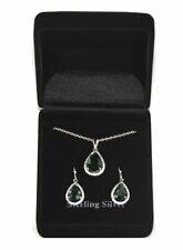 Lot of 53 Sets of Women's Sterling Silver Genuine Green Necklace & Earrings