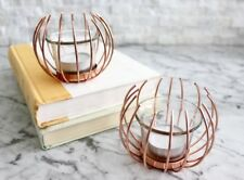 Set of Two Copper Tealight Candle Holders