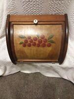 Vintage CORNWALL Wood BREAD BOX   Grape/ APPLE & BASKET COUNTER OR HANG ON WALL