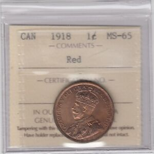 1918 Canada Large Cent Coin ICCS MS-65 Red - Choice Example