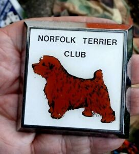 Vintage 1970s Metal Car Badge - Norfolk Terrier Club
