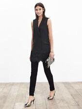 BANANA REPUBLIC Black Long Fringe Vest Size 2 Retail $250